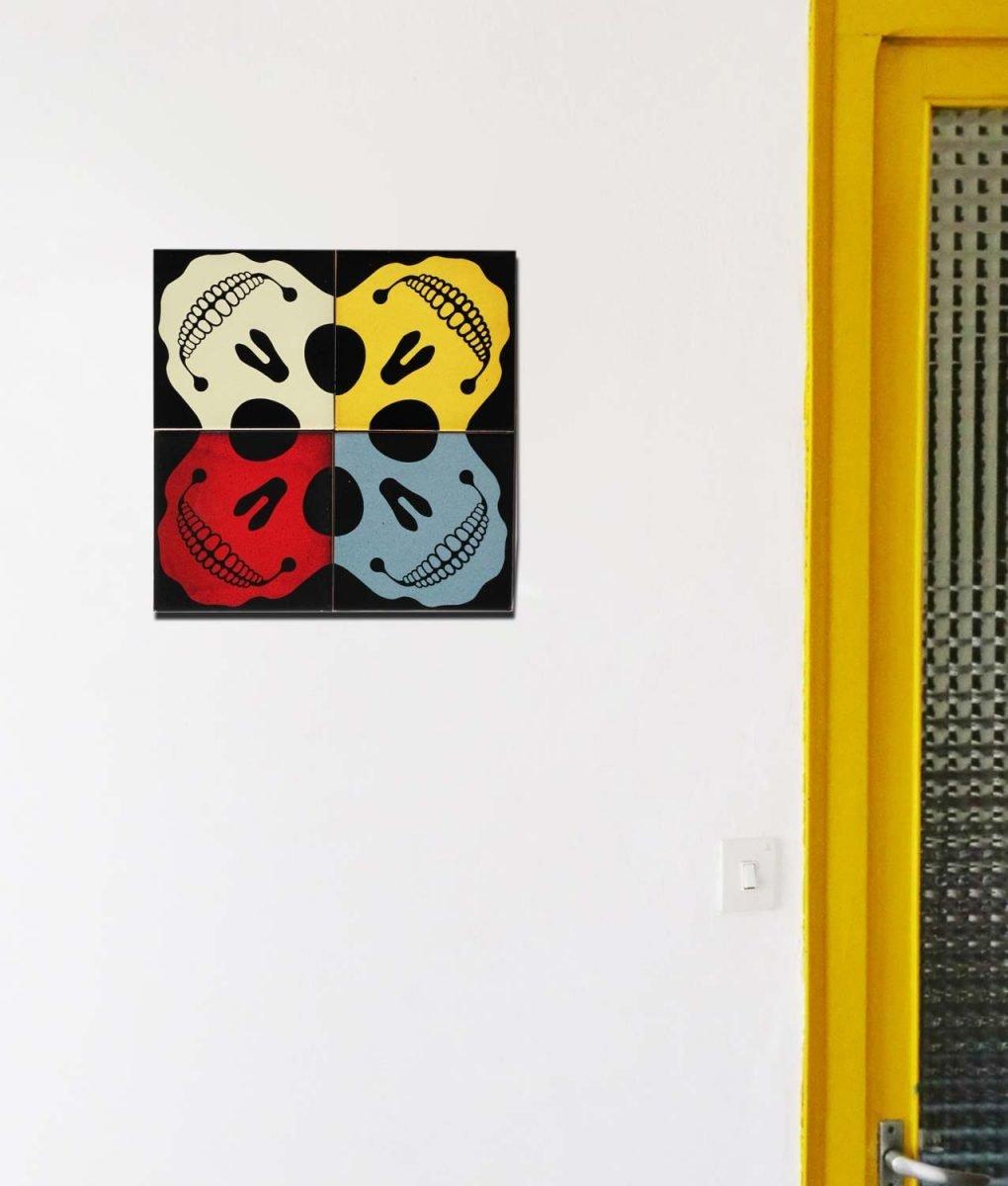 mural azulejo calavera