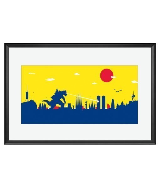 Póster Barcelona Godzilla