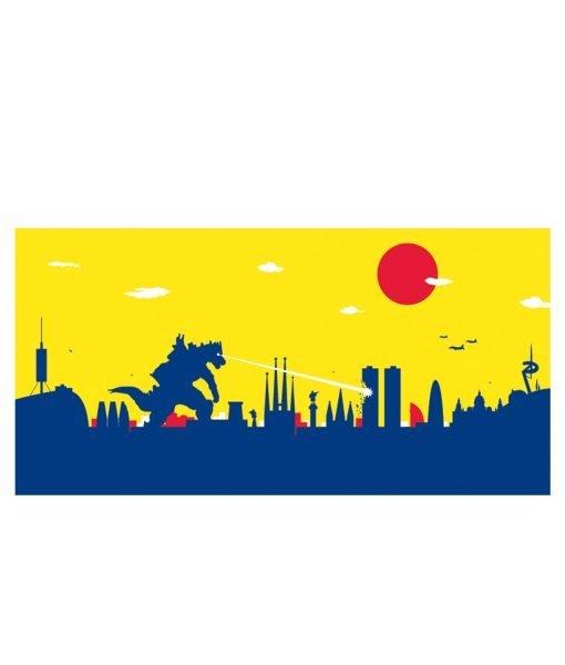 Póster Barcelona Godzilla detalle