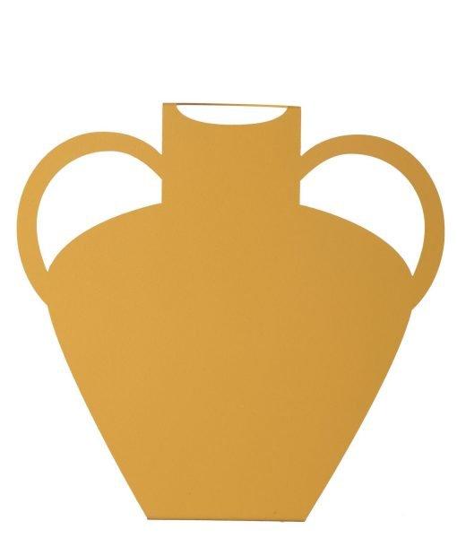 mustard metal vase